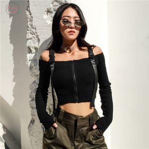 Harajuku Off Shoulder T Shirt Womens Strap Casual Spandex Tshirts Cotton Women Long Sleeve Crop Top Punk Korean T Shirt Lady