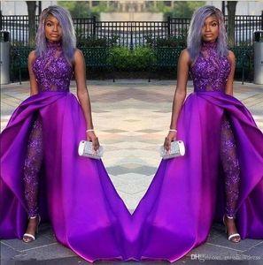 2020 classique de bal Robes de Mariée avec Jumpsuits détachable train dentelle à col Appliqued Perle Robes de soirée de luxe Parti Africain Costumes Femmes Pantalon