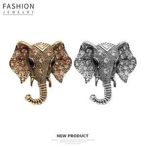 الأوروبية والأمريكية الحيوان الساخن بيع دبابيس أزياء سبائك الماس الفيل رئيس طوق بروش دبوس شارة