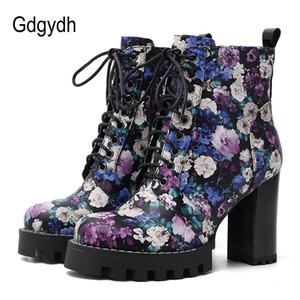 Gdgydh 2020 zapatos nuevos de la flor de primavera para mujer botas de tacón alto para las mujeres del tamaño Corto Botas con cremallera TPR Sole Buena Calidad Plus 42