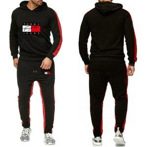 uomini alla moda sportswear da jogging abito a due pezzi di cotone pieno addensato con cappuccio + pantaloni sportswear piumino NO.7P