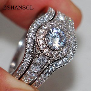 Vintage ring Pave setting 5A zircon Cz 925 Sterling Sliver Engagement Wedding Band Rings set For Women Bridal bijoux