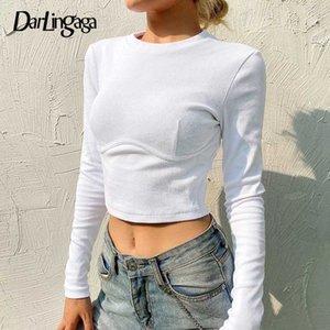 Darlingaga 2020 Autumn White Long Sleeve T-shirt Women Tops Bodycon Solid Basic Ribbed T shirt Casual Crop Top Tee Shirt Femme
