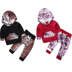 Casual Neugeborenes Kind-Baby-Jungen-Mädchen-Leopard-Kleidung mit Kapuze + Leggings Outfits