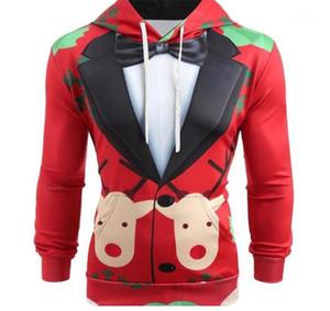 Mens Lustige Stil Hoodies Weihnachten Anzug Muster Drucken Hut Kragen Tuch Homme Dünne Beiläufige Tops Designer