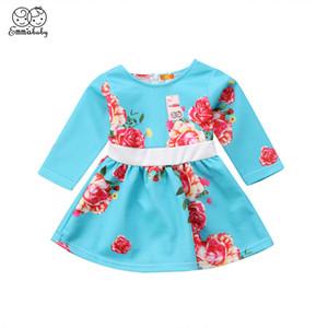 사랑스러운 신생아 유아 아기 소녀 드레스 의류 긴 소매 꽃 인쇄 파티 선발 대회 공식 파티 드레스 의상 의류