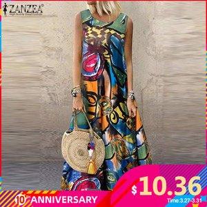 ZANZEA donne Bohemian senza maniche stampato floreale Sundress Summer Dress Robe Vintage caftano Beach Vestido Femme Sarafan Plus Size