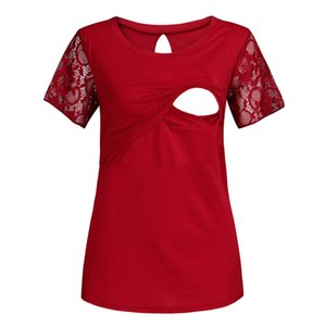 Nursing Top manica corta Lace Donne Estate Elegante L'allattamento al seno casuale maglietta incinta vestiti di maternità Ropa embarazada 19May