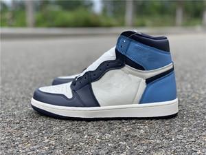 En gros Nouveau 1 OG haute obsidienne bleu blanc Hommes Chaussures de basketball baskets de sport Sneakers 2018 livraison gratuite de qualité supérieure avec la taille de la boîte 8-13