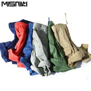 misniki 2018 yeni gelenler moda yaz erkek kargo şort düz renk Elastik erkek kısa pantolon M-3XL CYG349