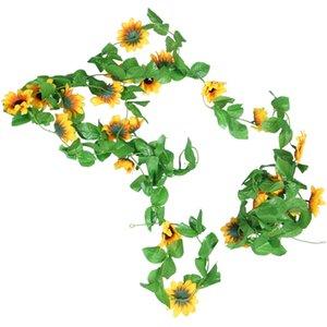 2.6M Artificial Sunflower Wreath Silk Fake Flower Ivy Leaf Plant Home Decoration Flower Wall Wreath 6 Packs