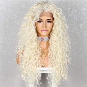 Blonde Curly Lace Front Wig Daily Makeup Party Wig Heat Resistant Hair 26 inch Blond 613# Synthetic Lace Front Wigs For Women