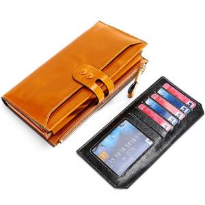Cera de Óleo de luxo das Mulheres de Couro Genuíno Longo Embreagem Carteira Bolsa RFID Bloqueio Organizador Titular Do Cartão de Crédito Das Senhoras Da Bolsa