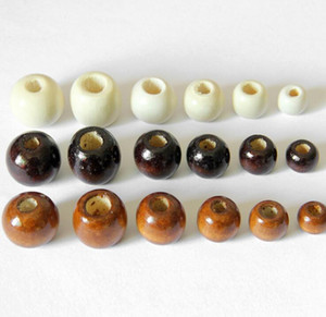 Round Big Hole Wooden Beads for Bracelet Necklace Jewelry Making White Coffee 10mm 14mm 16mm 18mm Wood Bead DIY Jewelry Accessories Charms