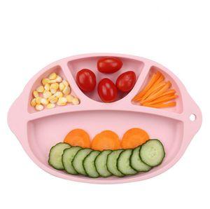 الطفل سيليكون الآمن الطعام لوحة BPA الحرة الأطفال الصلبة أطباق شفط دارى التدريب أدوات المائدة لطيف الكرتون للأطفال تغذية السلطانيات RRA2882