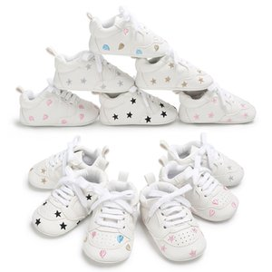 Infant Toddler Soft Sole Print Star Lace-up Prewalker Sneakers Baby Boy Girl Crib Shoes Newborn for 18 Months First Walk shoes