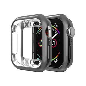 Caja protectora de TPU suave plateado cubierta de parachoques para Apple Seguir Serie 1/2/3/4