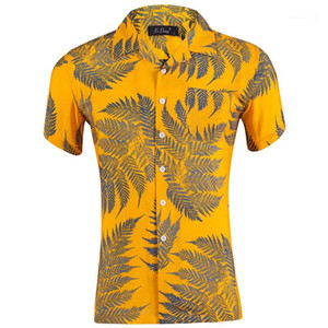 Blatt gedruckte kurze Hülsen-lose Mens Urlaub Tops Sommer Hawaii-Revers-Neck Männer Shirts