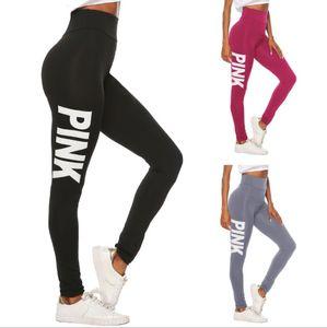 Mulheres Yoga calça esporte Leggings respirável aptidão Carta Rosa Legging Pant Workout para Running Gym Roupa Plus Size Pant Quick-seco