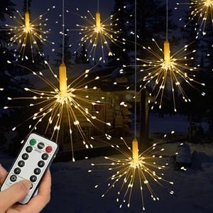 Luz de fuegos artificiales de cadena colgante 120LED con control remoto para patio casero al aire libre