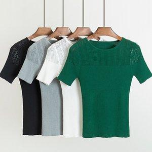 Gigogou De Malha Mulheres Camiseta Verão Casual Mangas Curtas Tees Top O-pescoço Alta Elasticidade Sexy Feminino T-shirt Y19042702