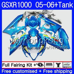 + Tank for SUZUKI GSXR 1000 1000CC GSX R1000 2005 2006 هيكل السيارة 300HM.58 GSX-R1000 Factory blue GSXR-1000 1000 CC K5 GSXR1000 05 06 Fairing