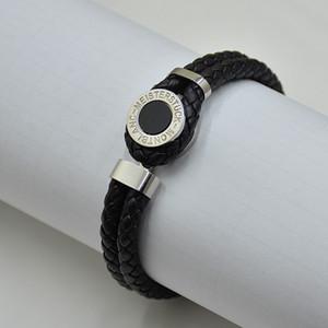 Prix Promotion MB en cuir tressé noir hommes Bracelets à bascule-fermoirs homme bracelets bijoux classique pour le cadeau d'anniversaire (No Box)