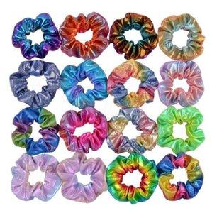Bebek Kafa Kız Scrunchies Çift Renkli Gradient Renk Bantlar Atkuyruğu Saç Bantları Moda Kız Tokalarım Saç Aksesuarları WY58Q