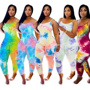Designer Frauen-Overall Abbindebatik Pyjama Onesies Ärmel Sommer Playsuits Strampler Plus Size Dhl Stile Kleidung 816