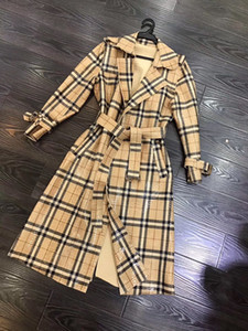 Avrupa ve Amerikan kadın giyim 2019 kış yeni stil Uzun kollu yaka ekose parlak yüz moda bağcıklı trençkot