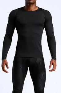 T-shirt dos homens Europa EUA correndo roupas de fitness de secagem rápida sportswear de mangas compridas compressão treinamento stretch calças justas ghfgh preto