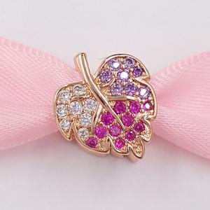 Authentiques Argent 925 perles Charms mousseux feuilles charme Fits Pavé bijoux européens Style Pandora Bracelets Collier 788322NPMMX