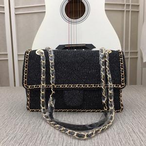 algodón suave bolso material de rectángulo terciopelo negro con cadenas de metal a cuadros cuadrado diseño revestimiento elegante dama bolso colorido crossbody shoulde