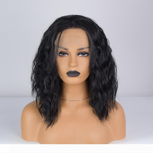 12 Inch Synthetic Fiber Hair Wigs 2019 Fashion Short Bob Wave Wigs Synthetic Lace Front Wigs Black Color Heat Resistant Synthetic Hai