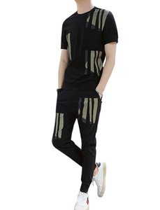 Mens Designer Tracksuits T-shirt + Pant 2 Piece Clothing Sets Print Outfit Suits 2020 Fashion Summer Youth Outdoor Casual Tracksuits