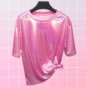 Luva faísca Glitter curta T-shirt Tops Camisa bonito Bling brilhante Tee Harajuku ulzzang cintilante Lurex T por Mulheres Festival EDM Rave Outfits