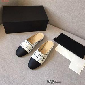 Zapatos causales de las mujeres clásicas zapatillas de cuero plano resbalón en sandalias para la señora de la elección de una variedad de color de media zapatilla, caja de zapatos Partido