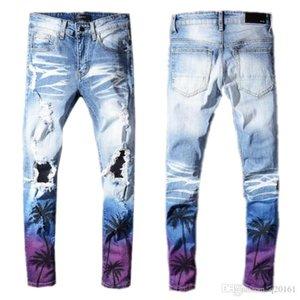 Designer Jeans for Men Skinny Jeans Ripped Holes Jeans Motorcycle Biker Denim Pants AI Brand Fashion Hip Hop Famous Brand Denim Pants