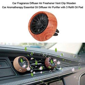 Fragancia coche difusor ambientador de aire de ventilación del coche del clip de madera del difusor del purificador de aceite esencial con 3 de carga de aceite Pad3