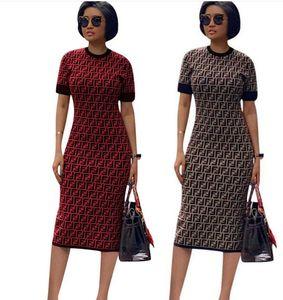 Frauen Kleider Art und Weise beiläufigen Frühlings-Brief Digital Printing Panelled Rundhalsausschnitt Bleistift-Kleider aus Polyester Druck Modekleidung