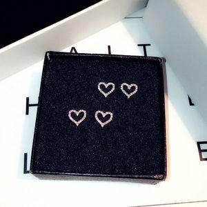 Romantique creux amour en forme de coeur boucles d'oreilles pour les femmes coréenne simple délicat incrusté zircon boucles d'oreilles bijoux Brinco cadeau