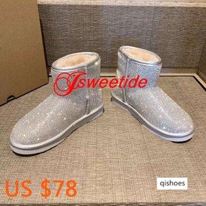 Winter Wool snow boots Top women Flat brand snow boots Winter Shoes Rhinestone Women's Shoes Flat heel short Boots