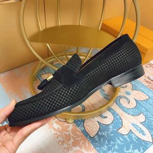 Hombres de la marca Vestido de cuero de vaca Zapatos de boda Mocasines Gommino Traje formal Zapato de oficina Moda Tassell Suede mocasines horsebit, 38-45