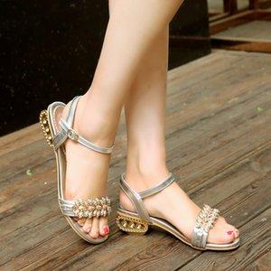 Glittery2019 Popular2019 Sandali Lussuoso strass One fibbia Portare in basso con scarpe da donna Codice 40-43