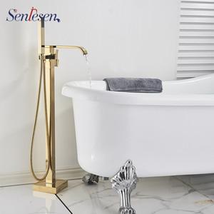 Senlesen Golden Bathtub Faucet Floor Standing Waterfall Spout Mixer Bath Brass Shower Faucet Mixer Tap Tub Shower