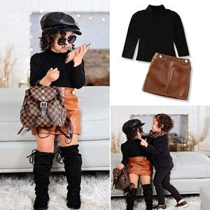 Toddler Baby Girl clothes pullover Turtle Neck Long Sleeve Tops Leather Button pocket solid Skirts 2pc kids outfit