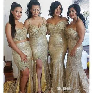 Sexy Champagne Pailletten Plus Size Bridesmaids Kleider Spaghettiträger Side Split Roben de Demoiselle d'honneur robe d'invité de mariage