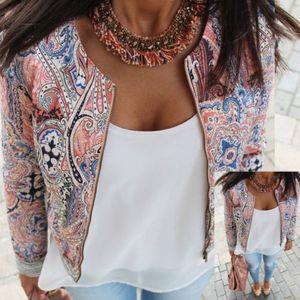 EU Stock Fashion Women Jacket Casual manga comprida terno Outwear Magro Zipper Floral