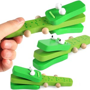 خشبية الكرتون أورف قرع الآلات الخضراء التمساح صنجات التعامل مع تدق لعبة موسيقية للأطفال هدية الطفل الخشب الموسيقى لعب Z0244