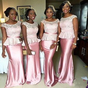 Modest Lace Pink Bridesmaid Dresses African Mermaid Cap Sleeves Scalloped Neck Lace Top With Belt Floor Length Maid of Honor Gowns Vestidos